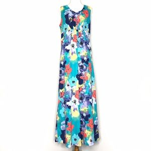 Coldwater Creek Green Floral Maxi Dress A150742